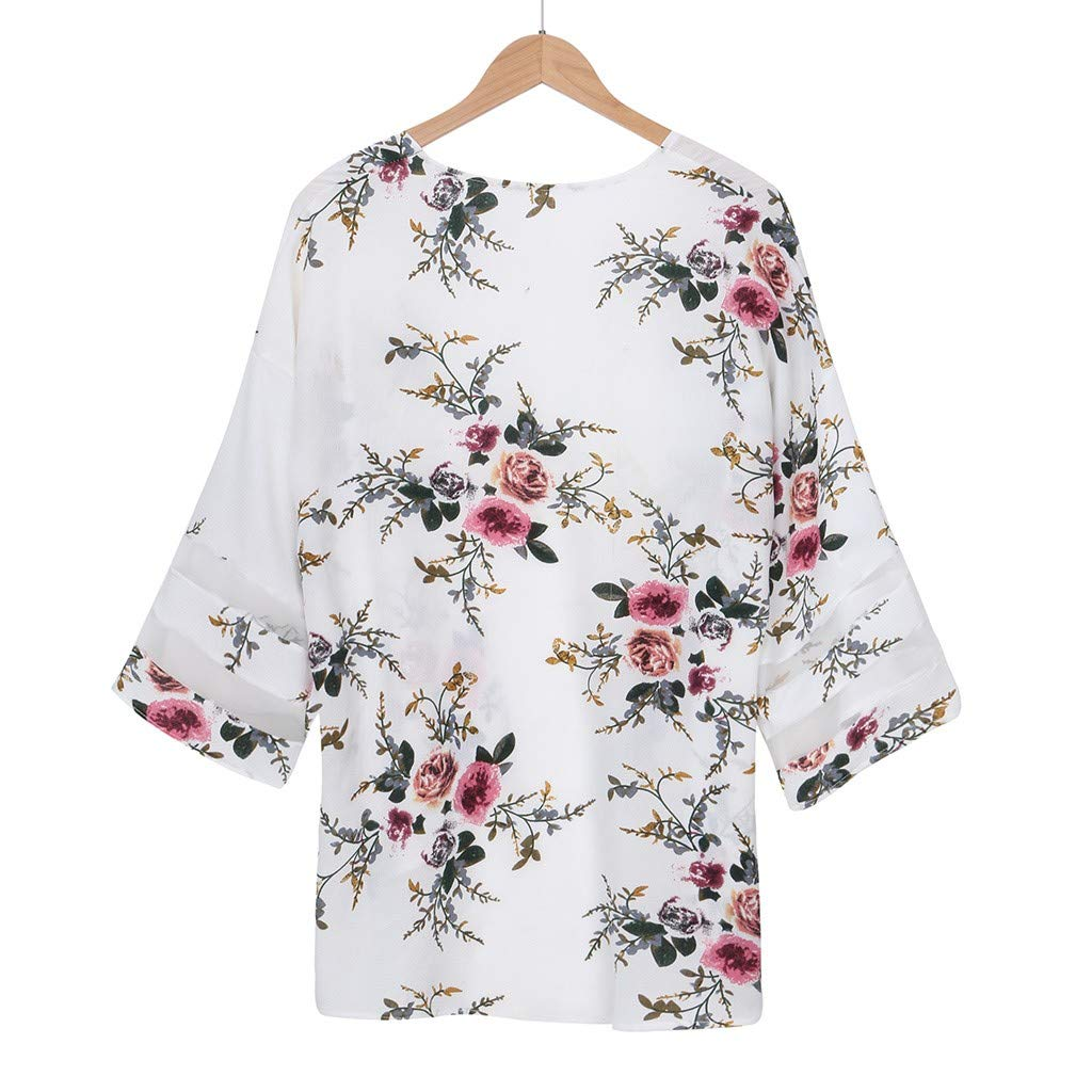 LOPILY 2019 Women Mesh Panel 3//4 Bell Sleeve Pure Color Chiffon Casual Loose Kimono Cardigan