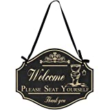 Funly mee Please Seat Yourself Welcome Metal Sign ,Bathroom Wall Art Decor-12.2×9.5(in)