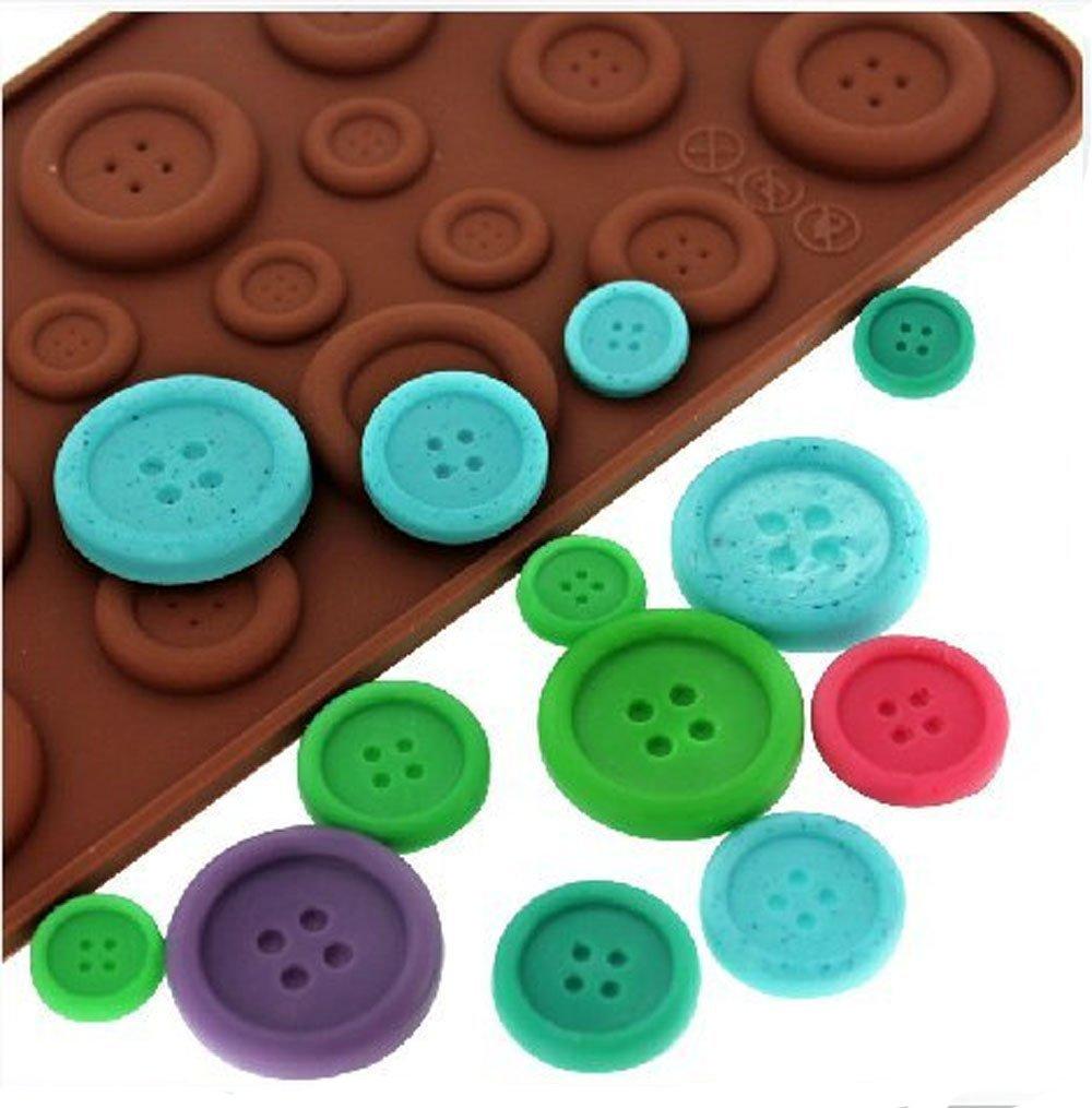 Bestjybt - Molde de silicona con botón para chocolate, molde para dulces, gelatina, cubitos de hielo, magdalenas, azúcar, manualidades, molde para fondant, ...