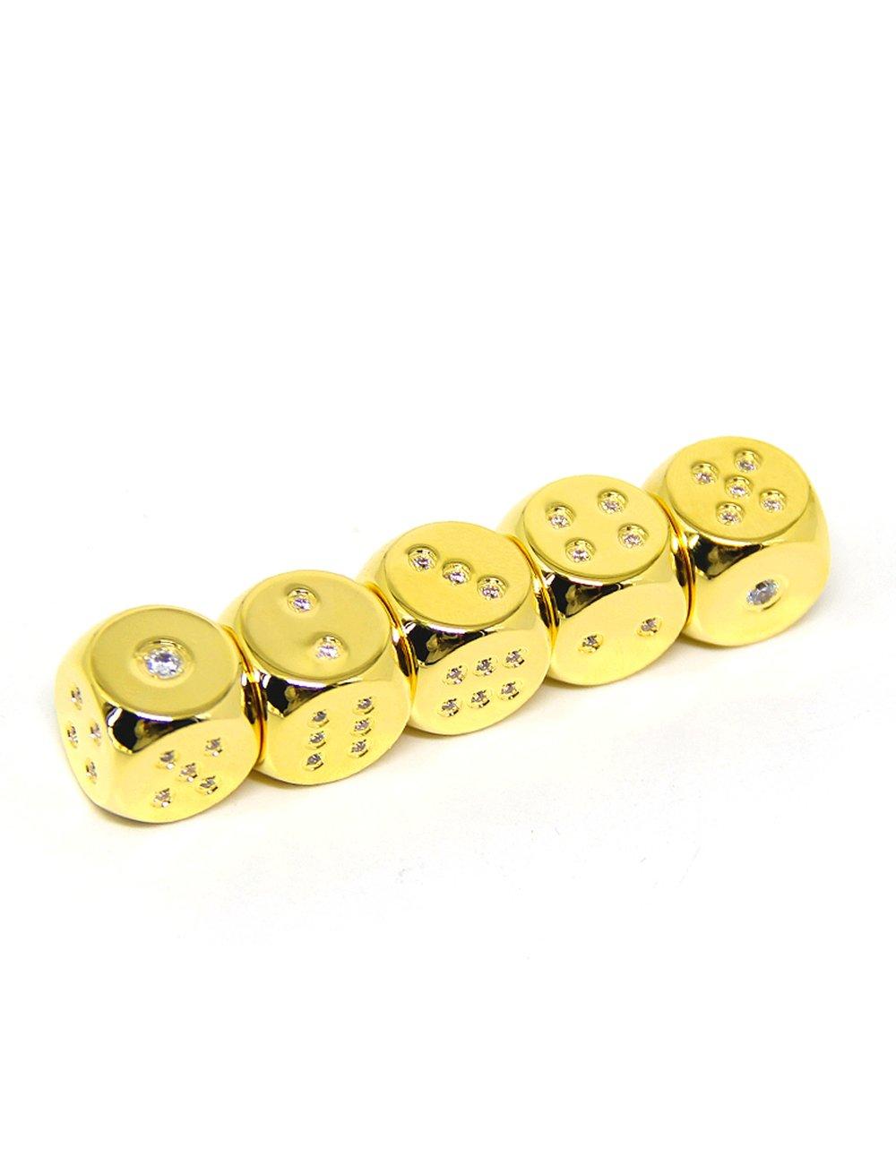 Callancity 4pcs handwork rhinestone diamonds encrusted 24kt real gold plated game custom dice
