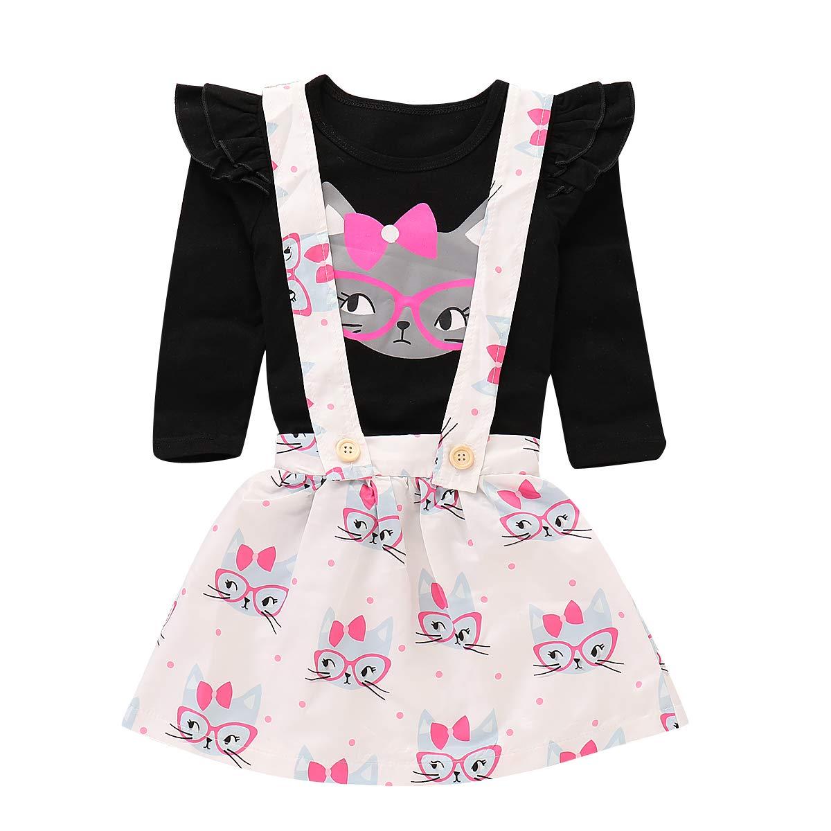 Toddler Baby Girls Cut Cat Ruffle Long Sleeve Shirt Tops Suspender Skirt Overalls Outfits