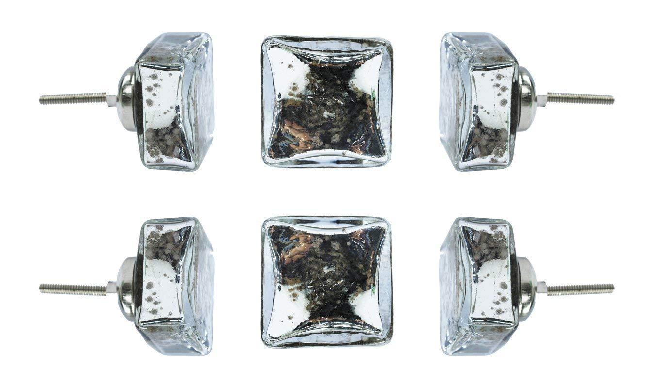 Amazon.com: Juego de 6 perillas de vidrio de espejo.: Handmade