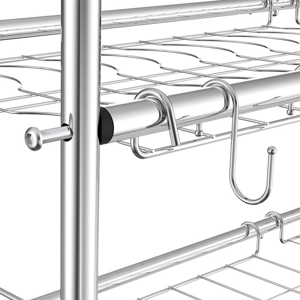 NEX 2-Tier Drying Rack for Kitchen Stainless Steel Dish Dryer Length Adjustable, Silver by NEX (Image #5)