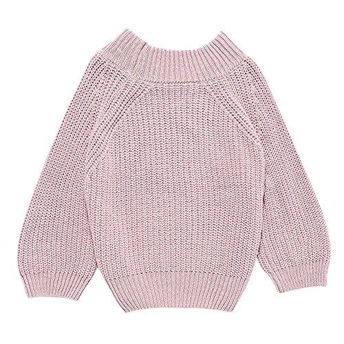 Shujin Femme Pullover Courte en Manche Longue en Col Rond Top en Tricot en Col B?teau Sweater en Maille Mode de Couleur Uni pour Printemps Automne Hiver ,, Rose