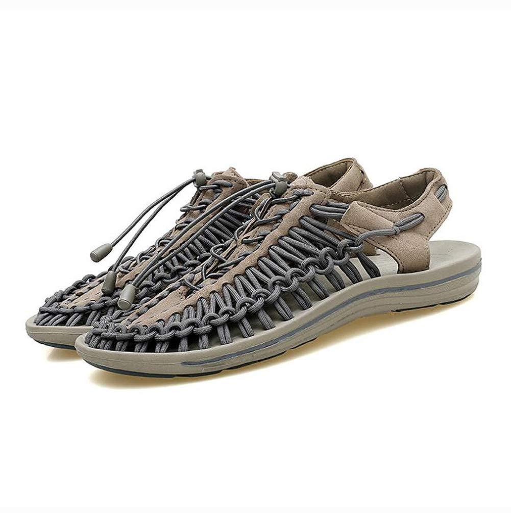 YWNC La Personalidad De Los Hombres Huecos Playa Tejida Respirables Sandalias Zapatos Hechos A Mano del Estilo Popular-Personalizado,Gray,39 39|Gray