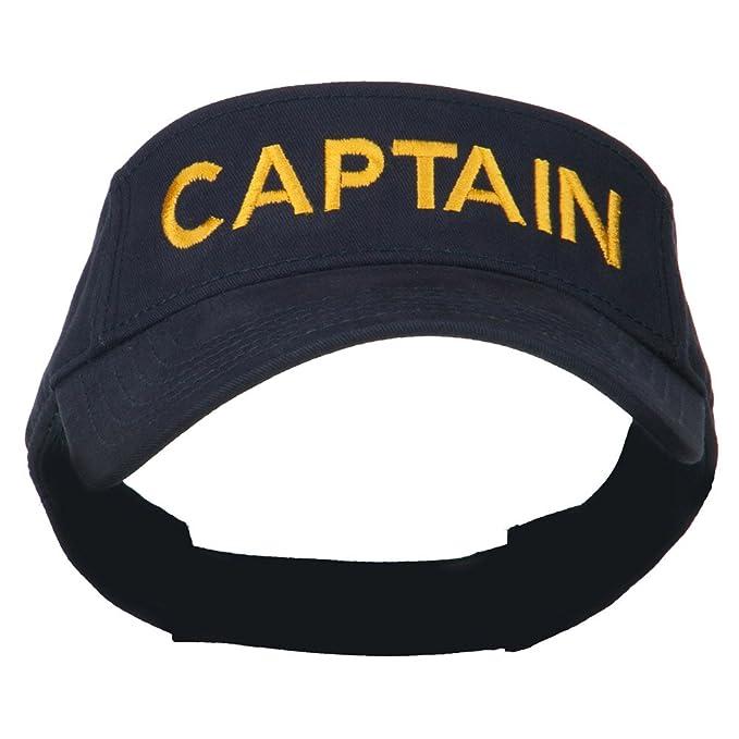fab105776aa Amazon.com  E4hats Captain Embroidered Strap Back Visor - Navy OSFM ...