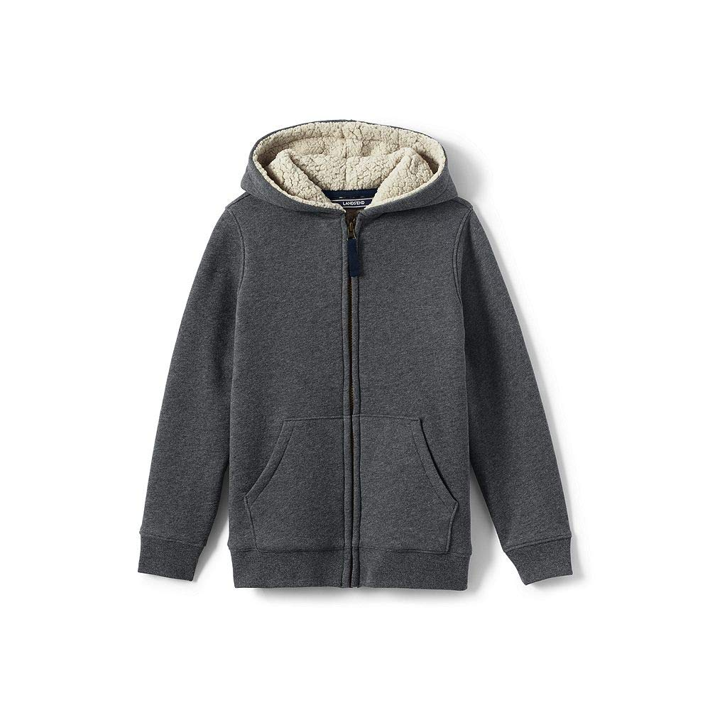 Lands' End School Uniform Little Boys Sherpa Lined Hoodie, M, Charcoal Heather