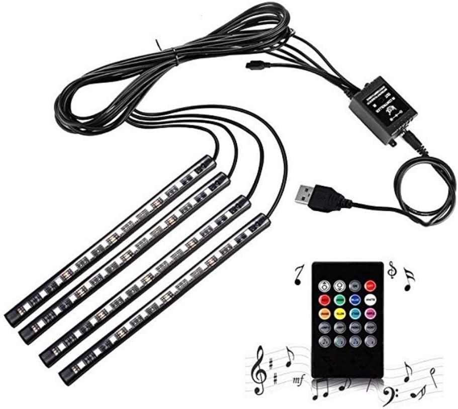 dzgreat Ambiance Voiture lumi/ère 12V contr/ôle sonore color/é 48 LED d/écoratif Lampe /à Froid int/érieur Prise USB t/él/écommande de balisage Lumineux RGB Bande