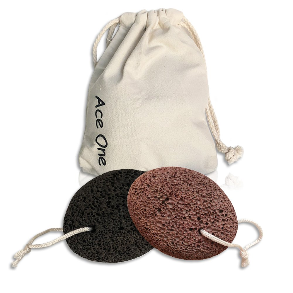 Ace One Pumice Stone Foot Scrubber Natural Earth Lava Foot File Home Pedicure Exfoliation Dry Dead Skin Scrubber Callus Remover For Pedicure Tools With Storage Bag Pack of 2