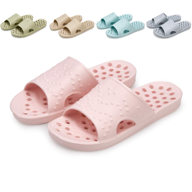 welltree Women's Shower/Bath Slippers Non-Slip Slide Summer Soft Indoor House Open Toe Shoes Sandals 6-7 Women/Pink/37-38