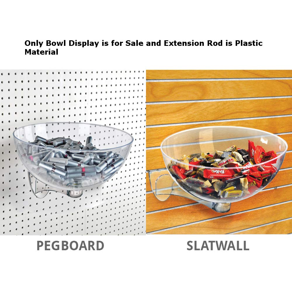 Clear Plastic Retail Hanging Bowl Display 7''D x 14''Dia. for Pegboard/Slatwall