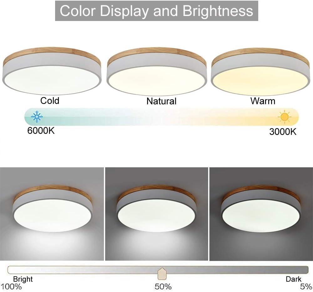 OYIPRO LED Deckenleuchte mit Fernbedienung Dimmbar Deckenlampe 40W Φ50cm Nachtlicht Funktion Acryl Lampenschirm für Wohnzimmern Schlafzimmern Küche Flur Weiß 30cm