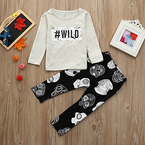 Hatoys Baby Care Boys Girls Letter Print Tops T-Shirt Skull Pants 2Pcs Outfits Set (70) by Hatoys (Image #5)
