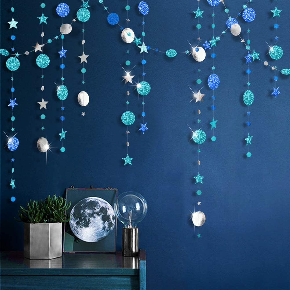 Ice Blue Silver Circle Dot Garland kit for Navy Blue Twinkle Little Star Party Decoration Hanging Bunting Banner Steamer Backdrop Background for Baby Shower/Christmas/Birthday/Prom/Graduation/Wedding