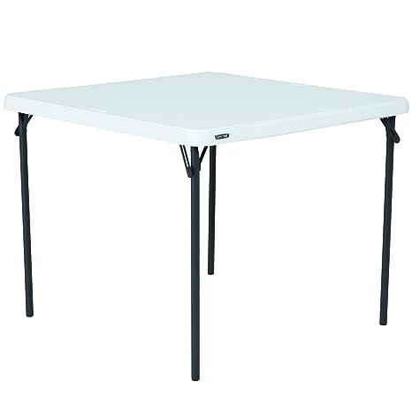 Lifetime Square Folding Table.Lifetime 80783 37 Inch Commercial Grade Square Folding Table White Granite