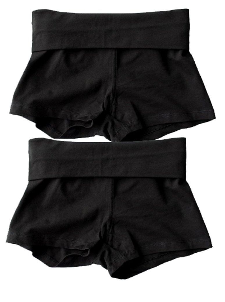 Waist Band Contrast Yoga Fold Over Shorts (Small, 2 Pack: Black)