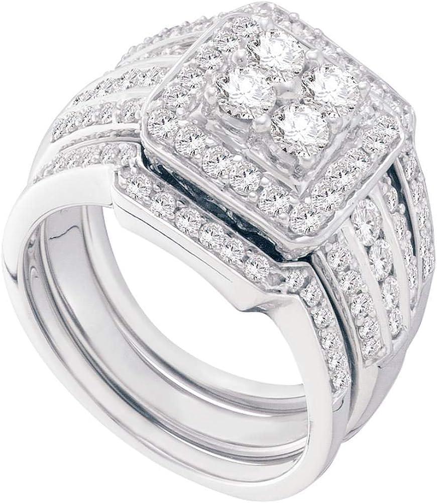 Joyas de Lux oro blanco de 14 quilates, anillo de compromiso de boda de 3 piezas con diamantes redondos para mujer (claridad I2-I3, color I-J)