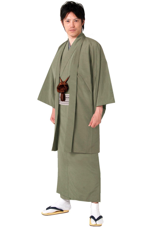 (キョウエツ) KYOETSU メンズ袷着物と羽織のアンサンブル2点セット 正絹 無地 紬生地 袷 仕立て上がり B01FHGHG4E L|草 草 L