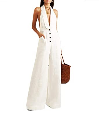 united kingdom selected material the best attitude FASFF White Jumpsuit for Women Wide Leg Trousers for Women Period Pants  Elegant Jumpsuit Summer Trousers Women