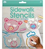 NPW-USA Sidewalk Animal Faces Chalk & Stencils Set