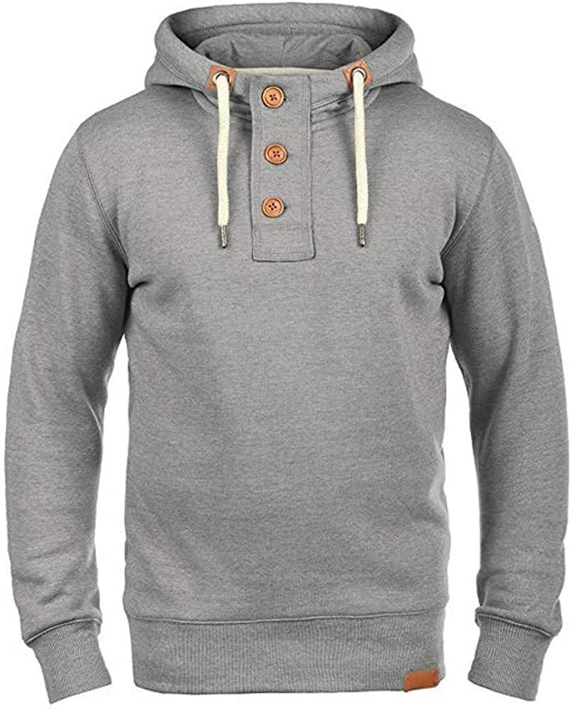 Men Fashion Buttons Solid Color Pullover Hooded Drawstring Sweatshirt Coat