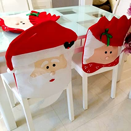 858a7161a6aaf Cooldiy Santa Red Hat Chair Covers Christmas Decorations Dinner Chair Xmas  Cap Sets (Mr