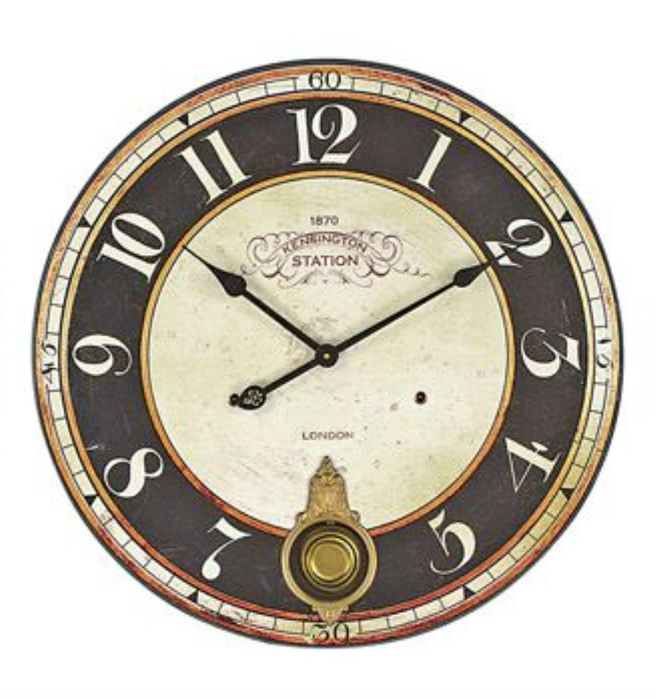 Vintage Kensington Station 23-Inch Diameter Wood Wall Clock With Pendulum
