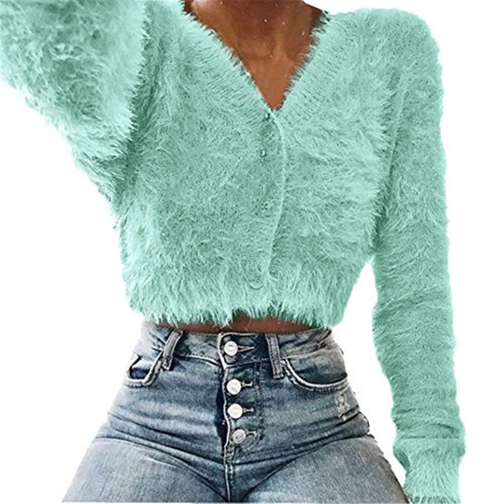 Women Long Sleeve Sweater Ladies V-Neck Solid Color Knitted Pullover Casual Sweaters Furry Crop Popular Tops Sweatshirts