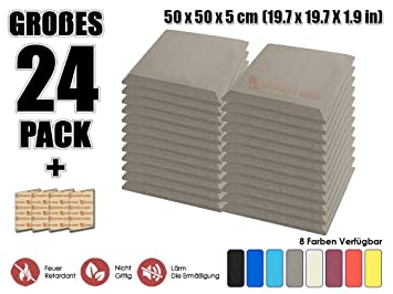 Super Dash (24 unidades) de 50 x 50 x 5 cm Negro Bevel techo Studio Espuma acústica corrugada Esterilla aislante ...