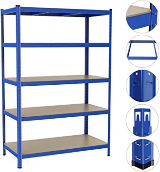 Yaheetech 180cm x 90cm x 40cm 5 Tier Heavy Duty Steel Garage Shed Storage Shelving Units,Blue,175KG Per Shelf