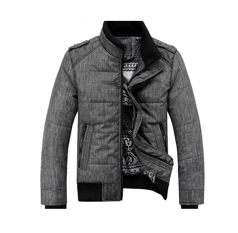 66a663bf134a8 Gaorui Men winter sport quilted jacket cotton-padded coats Zipper overcoat  Outwear at Amazon Men's Clothing store: Down Outerwear Coats
