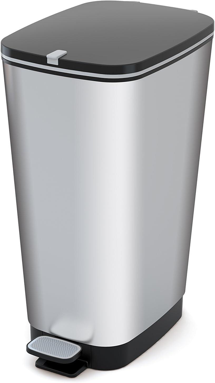 Curver Chic Cubo de Basura, Plata, L