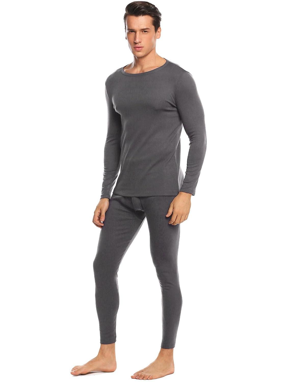 Langle Mens Soft Cotton Sleepwear Thermal Underwear Set Base Layering Tops /& Bottoms S-XXL