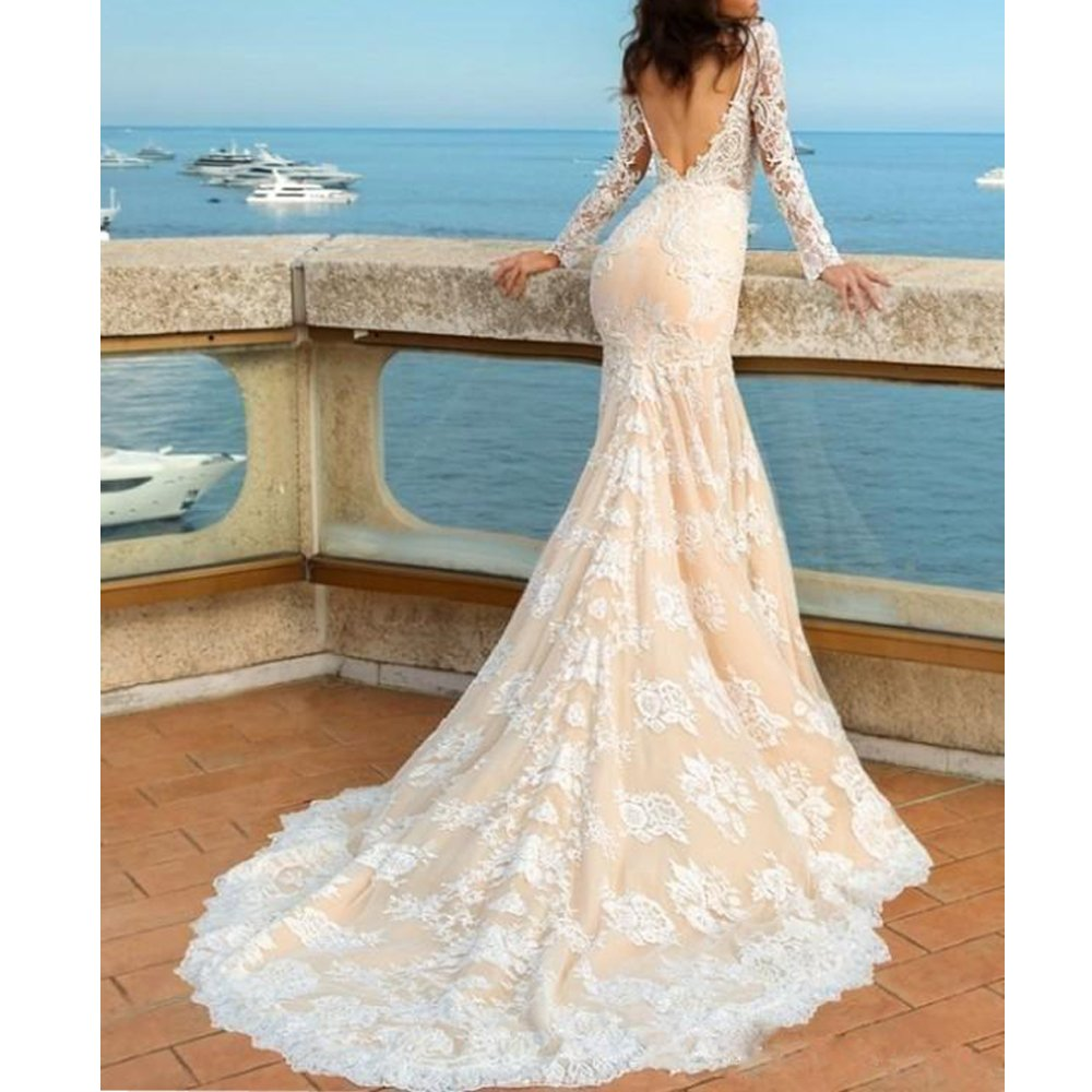 23d09b8712 Liliesdresses Women s Low Cut Lace Wedding Gown with Sleeves Train Mermaid  Evening Gown Backless Long Bridal Gown at Amazon Women s Clothing store
