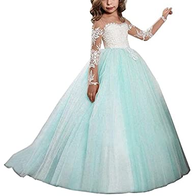 4df07c0f459 Kalos Dress Shop Lace Bodice Tulle Puffy Flower Girl Dress Lace Appliques Girls  First Communion Dress