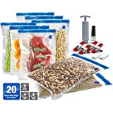 Sorbus Sous Vide Vacuum Bags for Sousvide Cookers [20 Bags] Reusable BPA Free Food Storage Sous Vide Bag Kit, 2 Pumps, 2 Bag Sealing Clips, 4 Sous Vide Clips