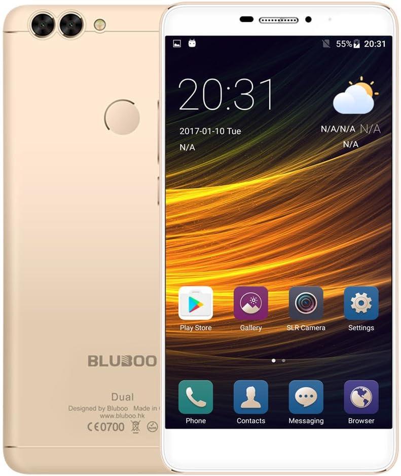 Bluboo Dual Smartphone 4G LTE 5,5 Pulgadas 2,5D 1920 x 1080 Pixel FHD Android 6.0 Aleación de Aluminio MTK6737T Quad Core 2GB RAM 16GB ROM Cámara 13MP + 5MP, Soporta Tarjeta TF, Oro: Amazon.es: Electrónica