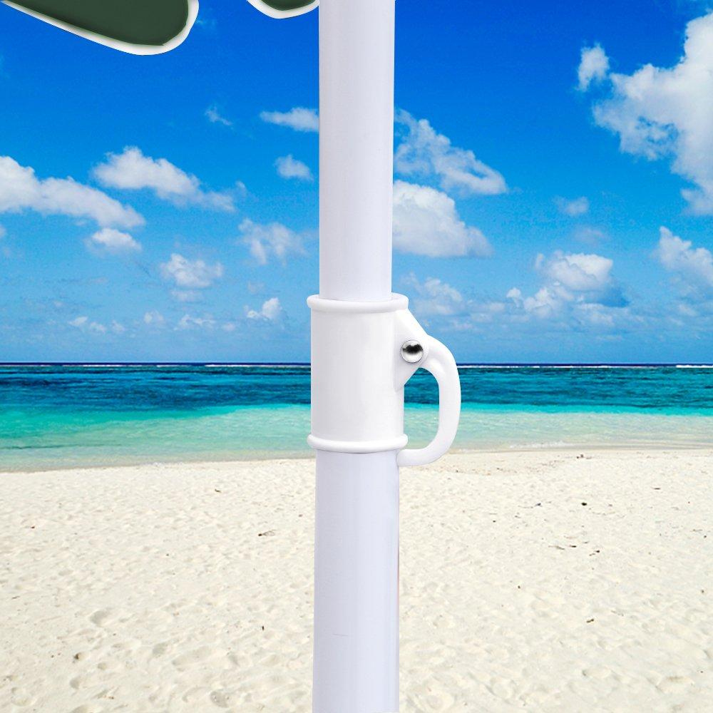 Hengda/® Ombrellone Giardino Parasole Anti Raggi UV 1.8*1.2m Beige palo laterale Resistente al Vento con manovella e base giardino Spiaggia Gazebo telo idrorepellente