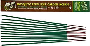 Amazon Lights Mosquito Repellent Garden Incense | Made with Plant Based Ingredients | 2.5 to 3 Hour Protection | 12 Sticks per Tube