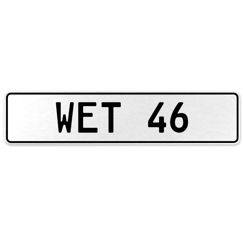 Vintage Parts 554940 Wet 46 White Stamped Aluminum European License Plate