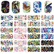 Naladoo DIY Nail Sticker, 12 Sheets/Set Colorful Butterfly Serise Nail Art Stickers Water Transfer Decals Nail Art Decoration Supplies Easy Use for Salon and Personal