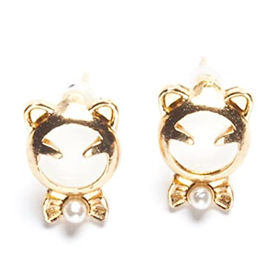 Amazon Com Jjr 18k Gold Plated Crystal Opal Hello Kitty Stud