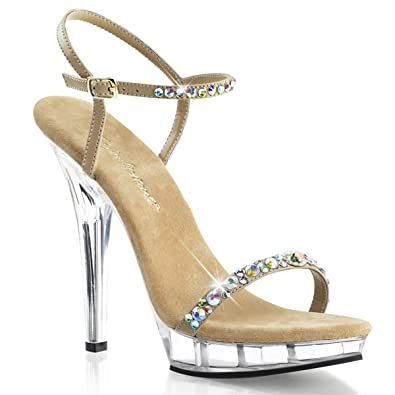 Summitfashions Womens Gorgeous Nude and Clear 5 Inch Pageant Heels with Iridescent  Rhinestones Size  5