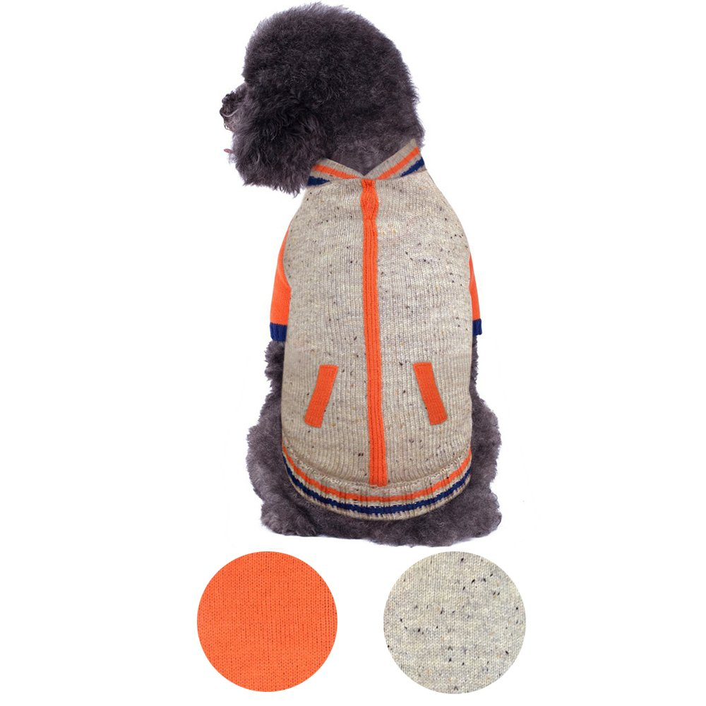 Blueberry Pet 2 Patterns Warm Shepra Fleece Lined Baseball Winter Jacket Style Pullover Dog Sweater in Oatmeal Heather, Back Length 10'', Pack of 1 Clothes for Dogs