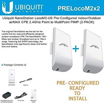 Ubiquiti LocoM2 2-PACK PRE-CONFIGURED Nanostation Loco M2 AirMax CPE 2 4GHz
