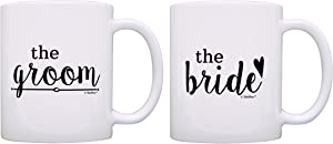 Bridal Shower Gifts Bride and Groom Wedding Gift Ideas 2 Pack Gift Coffee Mugs Tea Cups White