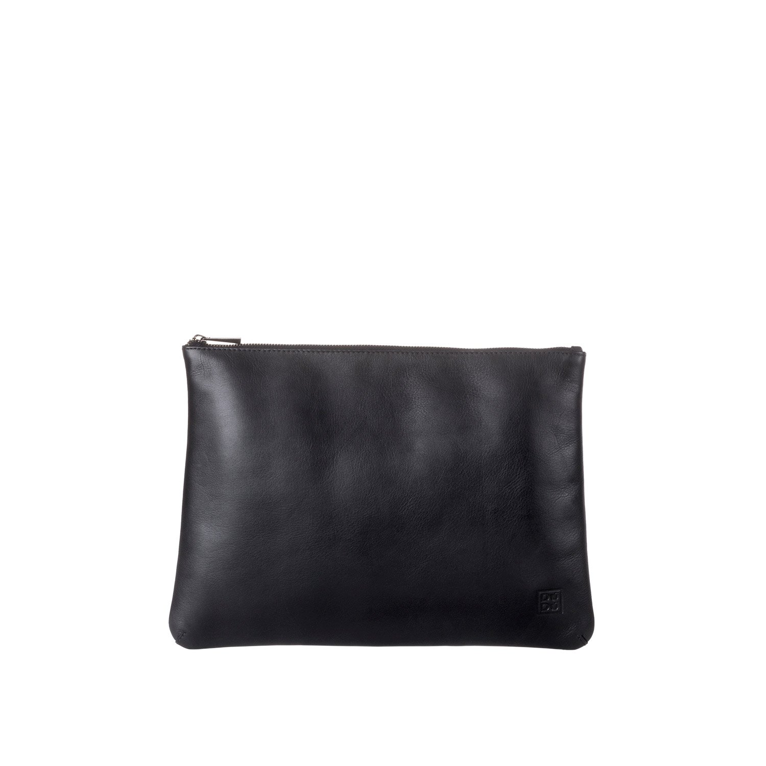 DUDU Clutch Bag Purse with Handle for ladies and men in Real Leather Slim & Large Handbag with Zipper closure - Isa - Black