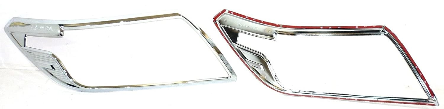 NAVARA NP300 2016 CHROME FRONT HEAD LIGHT LAMP COVERS TRIMS SURROUND KIT