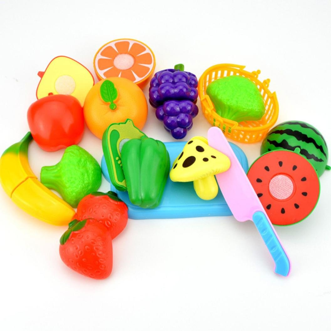 2017 Kids Food Cutting Set Toy,Developing child's mind, Creativity ,Thinking ability, Unpara Pretend Role Play Kitchen Fruit Vegetable Food Toy Cutting Set Gift for Your Children Developing child' s mind GFH