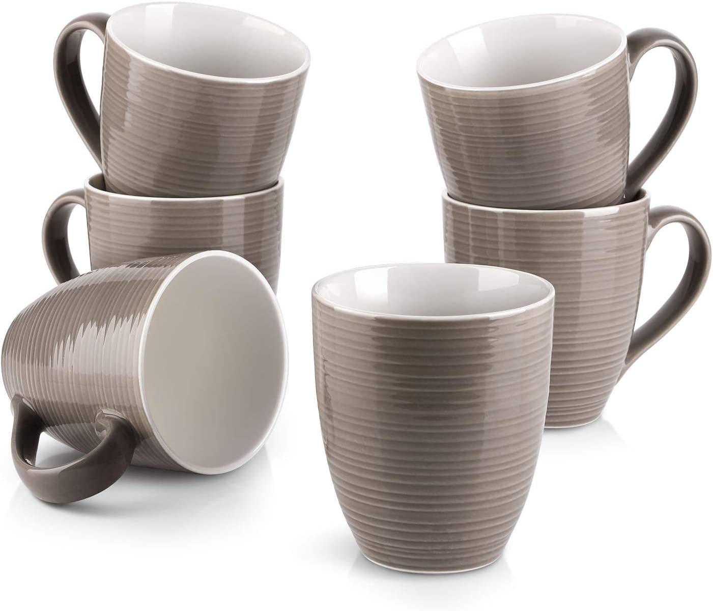 DOWAN Coffee Mugs Set - 17 Oz Large Coffee Mug Set of 6 with Handle, Ceramic Mugs for Coffee Tea and Cocoa, Brown